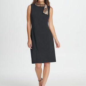 DKNY Sleeveless Animal Tie Neck Sheath Dress Black